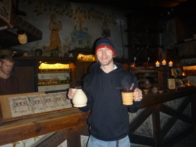 Having a drink in the medieval restaurant Olde Hansa