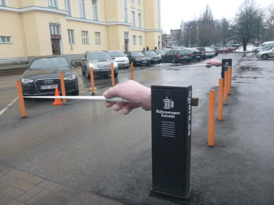 A conductor's entrance to the car park