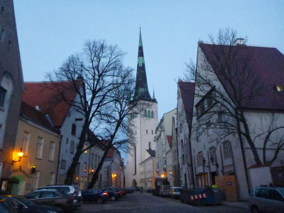 St Olaf's church on ground level - from the viewpoints, it rises high and above other Old Town buildings