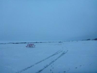 Wild white winter on Parnu Beach, Estonia