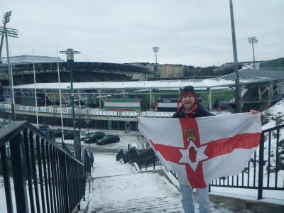 Outside the football stadium in Helsinki