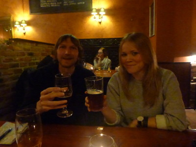 Beer with Sonja in Kaisla Bar, Helsinki, Finland