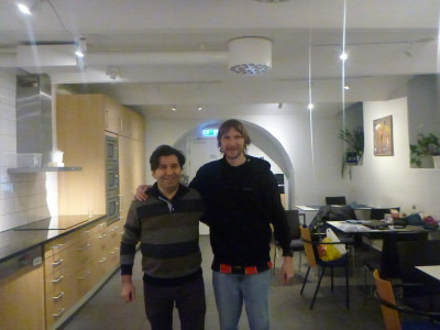 With Emin the owner from Turkey in Hostel Dalagatan
