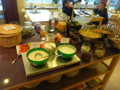Breakfast buffet at STF Vandrarhem Malmo
