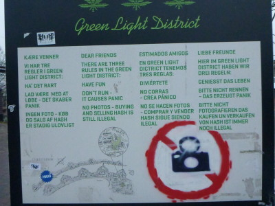 Sign for Pusher Street Green Light District