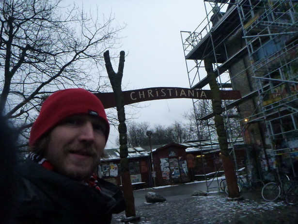 The famous Christiania Entrance Gate Selfie