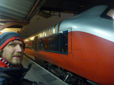 Boarding my train in Gothenburg, Sweden bound for Oslo, Norway.