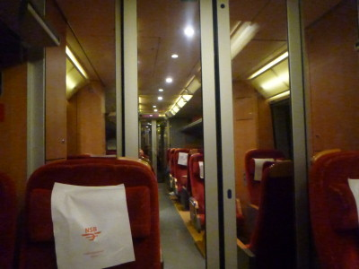 Our carriage on the excellent Norwegian train