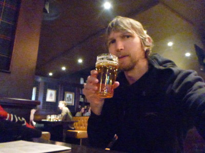 World Borders: Celebrating with an ice cold Norwegian Beer in Olso on reaching my 99th country.