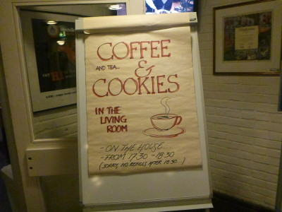 Free coffee and cookies in the lounge at night