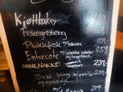 Food menu in Pingvinen, Bergen, Norway