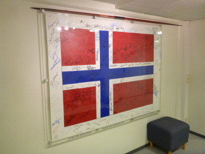 Signed Norway Flag at Olympiatoppen Sports Hotell Oslo