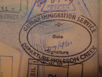 My Guyana Exit stamp at Moleson Creek