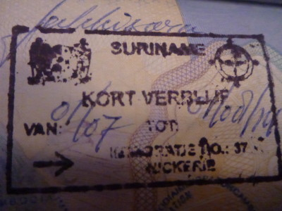 Suriname entry stamp at South Drain/Neiuw Nickerie