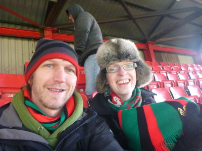 Watching Glentoran FC with Michael Whitford in Belfast, Northern Ireland
