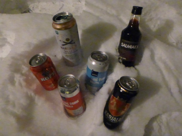 Ice cold beers kept in the Finnish snow.