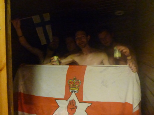 With the lads in the Finnish sauna.
