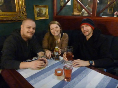 With Atte and Sofia in McArthur Irish Pub in Jarvenpaa, Finland.