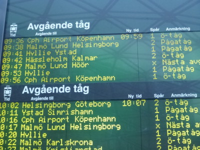 Trains from Malmo to Copenhagen