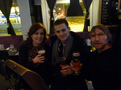 Reunion time! Drinks with Daniel and Sofia in Angelholm, Sweden.