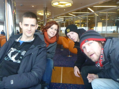 Crossing the border from Sweden to Denmark with  Daniel, Sofia and Simon