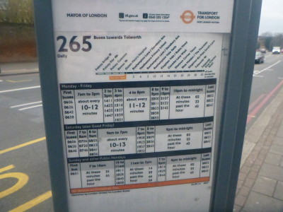 Routes for the bus 265 which I took from Queen Mary Hospital to Fountain (New Malden).