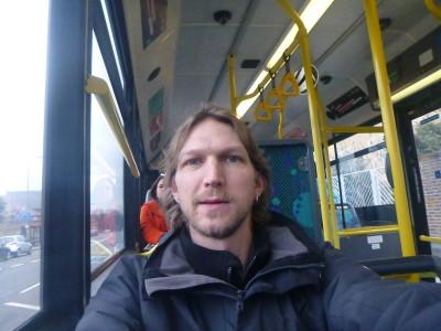 On the bus 265 in Roehampton, England on route to Wrythe, Austenasia