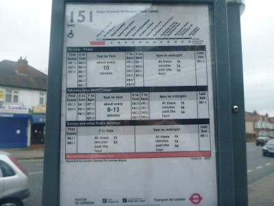 Routes of the 151 bus, the last of the three buses I used to get from Roehampton in England to end up in Wrythe in Austenasia.