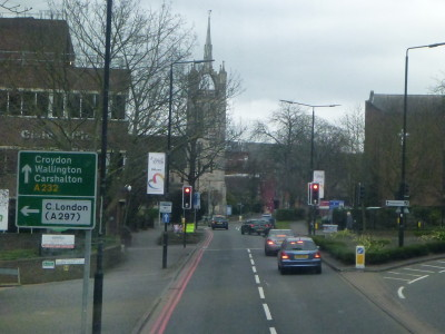 View of Sutton town centre from my bus