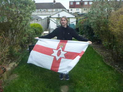 Flying the Northern Ireland flag in Wrythe Public Park in Austenasia.