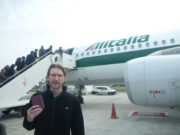 Boarding Air Italia flight to Tunis