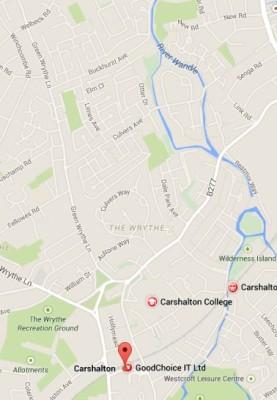 Carshalton train station to Green Wrythe Lane, location of Wrythe, Austenasia.