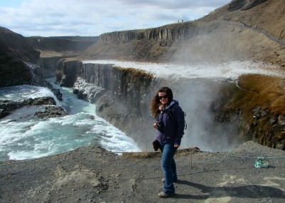 World Travellers: Stephanie Mayo at Gullfoss, Iceland.