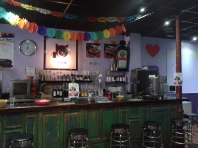 The bar at Cat's Hostel