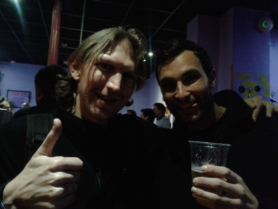 Having a beer with Marco in Cat's Hostel