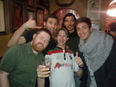 Partying with the crowd from Cat's Hostel in Madrid.