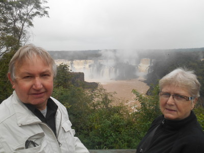 Dad and Mum admiring Iguazu Falls