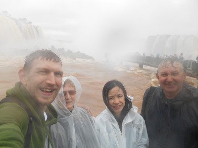 Getting soaked at the marvellous Iguazu Falls.