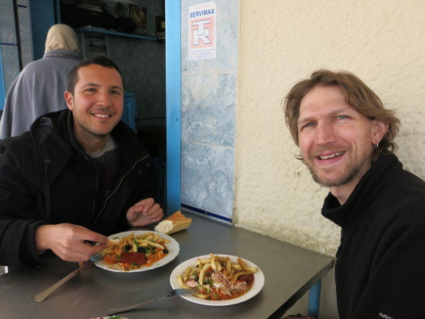 Ayoub and I eating Kafteji in Tunis