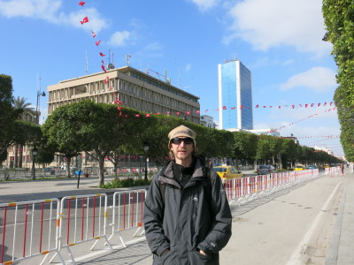 Backpacking through Tunis, the capital city on Avenue Habib Bourguiba