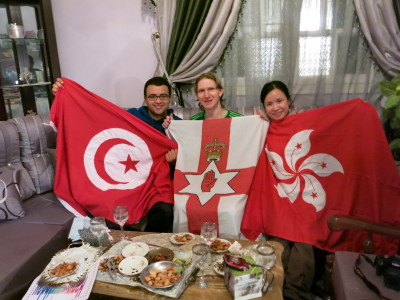 With our flags of Tunisia, Northern Ireland and Hong Kong