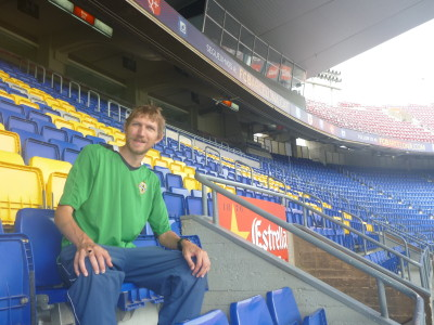 Sitting in the stands at the Camp Nou, home of FC Barcelona