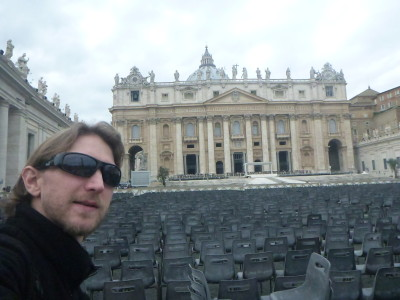 Outside St. Peter's Basilica, the largest church in the world.