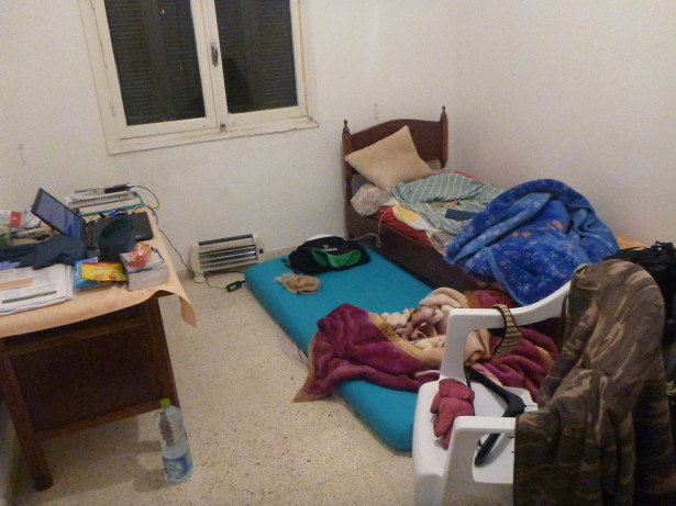 Our room in Ayoub's place in Olympic City, Tunis