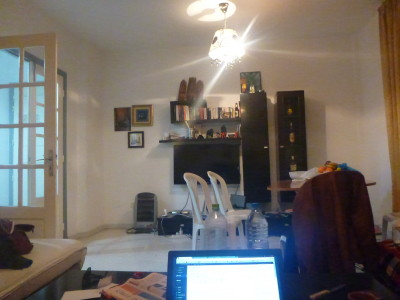 Working online from Dhia's flat