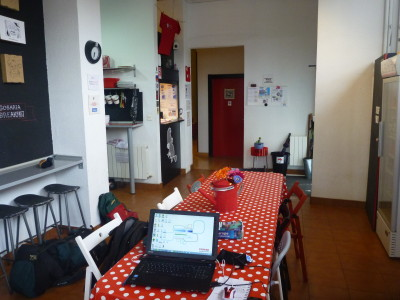 Working in the communal dining area/lounge