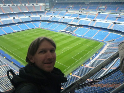 Inside the Estadio Santiago Bernabeau in Madrid