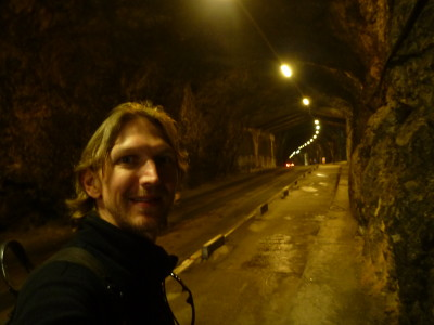 Walking through the Keightly Tunnel in Gibraltar