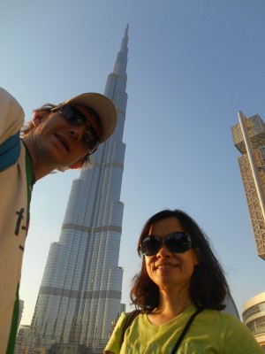 Outside the Burj Khalifa in Dubai, UAE