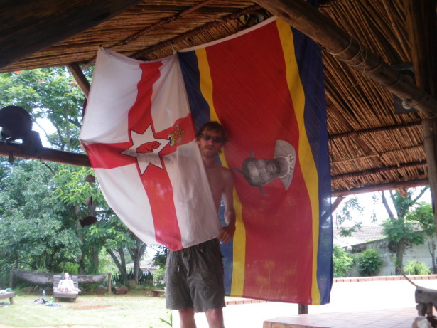 Posing with the Swaziland flag